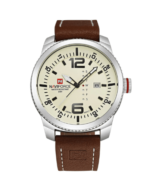 NAVIFORCE 9063  Men Quatrz Date Watches – White