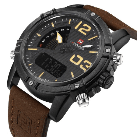 NAVIFORCE 9095 Men Digital Quatrz Watch – Brown