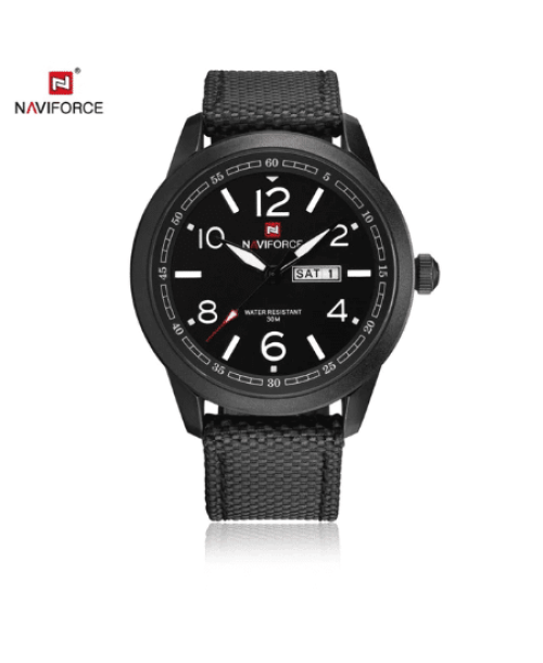NAVIFORCE 9101 Men Military Nylon Strap Watch – Black White