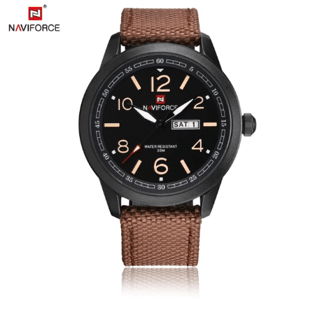NAVIFORCE 9101 Men Military Nylon Strap Watch – Brown