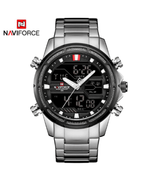 NAVIFORCE 9138 Men Military LED Quartz Digital Sport Watch – Silver