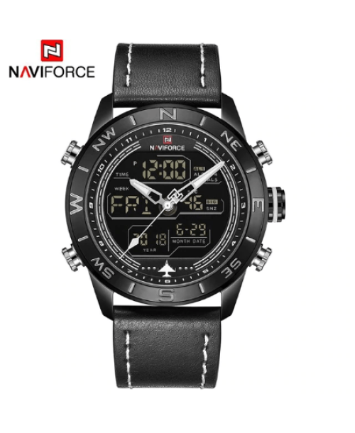 NAVIFORCE 9144  Men Sport Watches Digital  LED Analog – Black