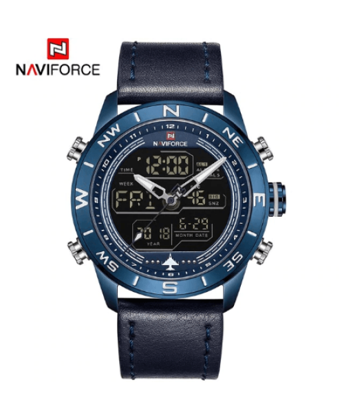 NAVIFORCE 9144  Men Sport Watches Digital  LED Analog – Blue