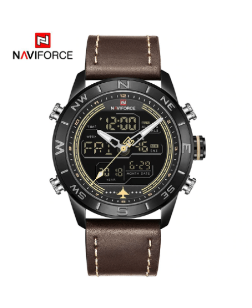 NAVIFORCE 9144  Men Sport Watches Digital  LED Analog – Brown