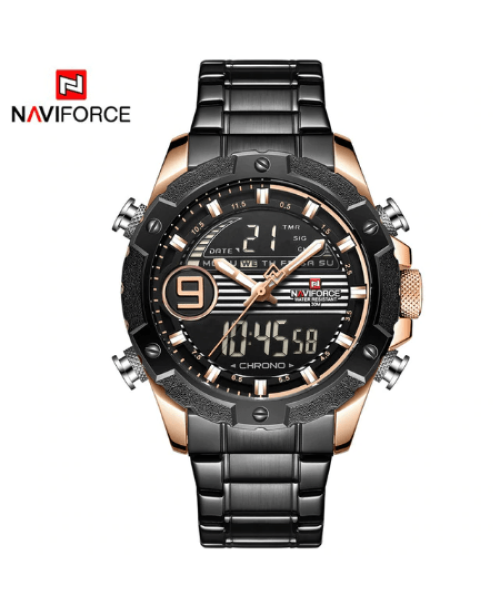 NAVIFORCE 9146 Men Digital Quatrz Watch Chain – Gold