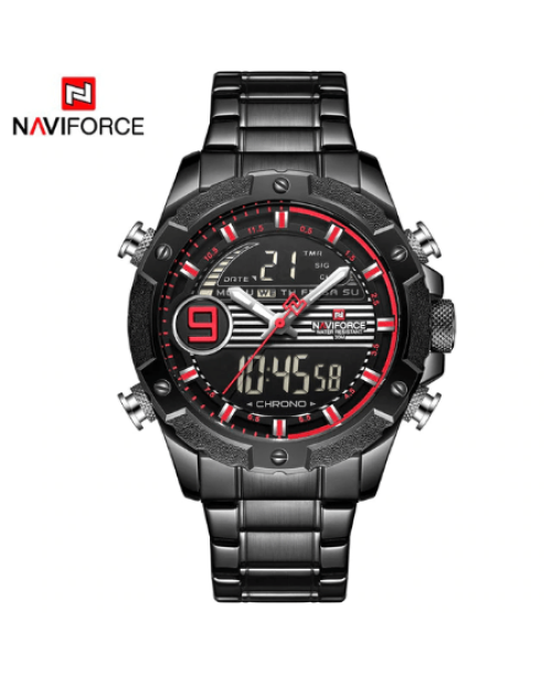 NAVIFORCE 9146 Men Digital Quatrz Watch Chain – Red