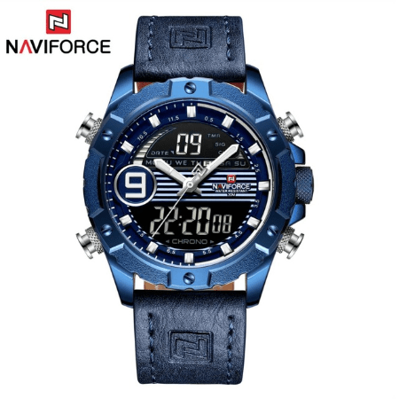NAVIFORCE 9145  Men Sport Watches Digital  Analog Strap – Blue