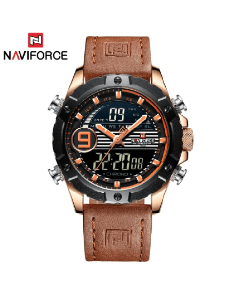 NAVIFORCE 9145  Men Sport Watches Digital  Analog Strap – Brown