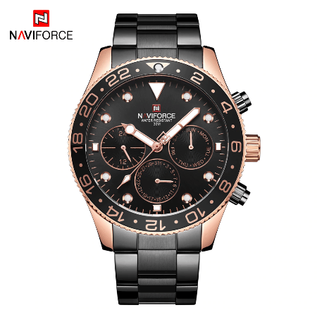 NAVIFORCE 9147 Men Chronograph Watch Chain – Black