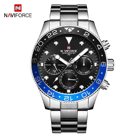 NAVIFORCE 9147 Men Chronograph Watch Chain – Silver