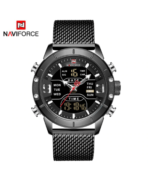 NAVIFORCE 9153 Men Military Watch Mesh Strap – Black