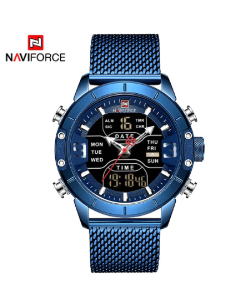 NAVIFORCE 9153 Men Military Watch Mesh Strap – Blue