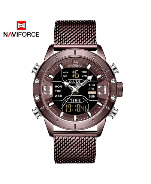 NAVIFORCE 9153 Men Military Watch Mesh Strap – Brown