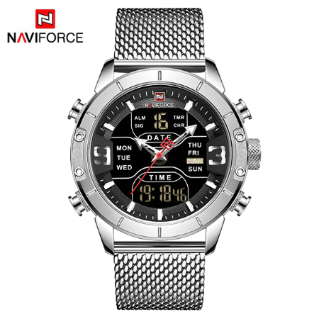 NAVIFORCE 9153 Men Military Watch Mesh Strap – Silver