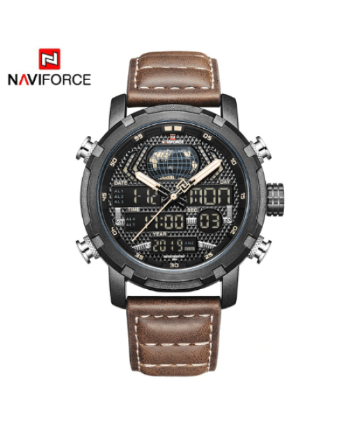 NAVIFORCE 9160 Men Digital Quatrz Watch – Brown