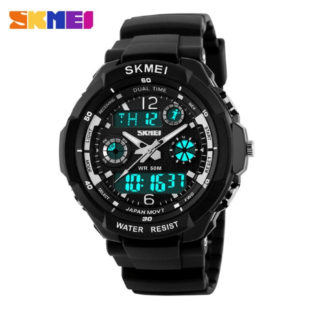 SKMEI 0931 Anti Shock 5Bar Waterproof Watches – Black