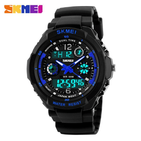 SKMEI 0931 Anti Shock 5Bar Waterproof Watches – Blue