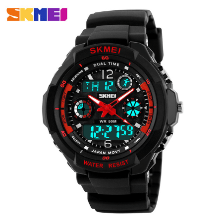 SKMEI 0931 Anti Shock 5Bar Waterproof Watches – Red