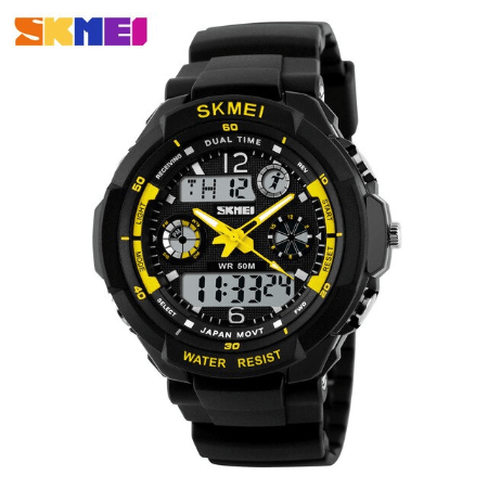 SKMEI 0931 Anti Shock 5Bar Waterproof Watches – Yellow