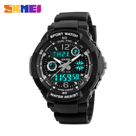 SKMEI 1060 Kids Anti Shock 5Bar Waterproof Watches – Black