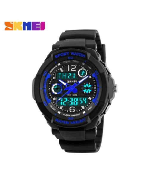 SKMEI 1060 Kids Anti Shock 5Bar Waterproof Watches – Blue