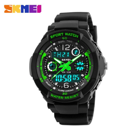 SKMEI 1060 Kids Anti Shock 5Bar Waterproof Watches – Green