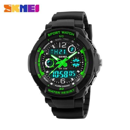 SKMEI 1060 Kids Anti Shock 5Bar Waterproof Watches – Green