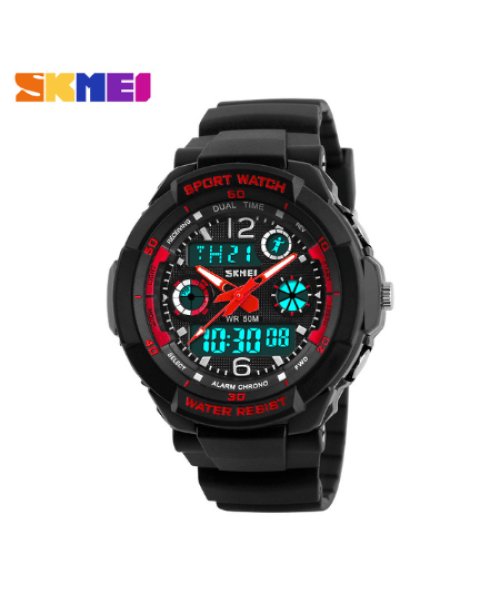 SKMEI 1060 Kids Anti Shock 5Bar Waterproof Watches – Red