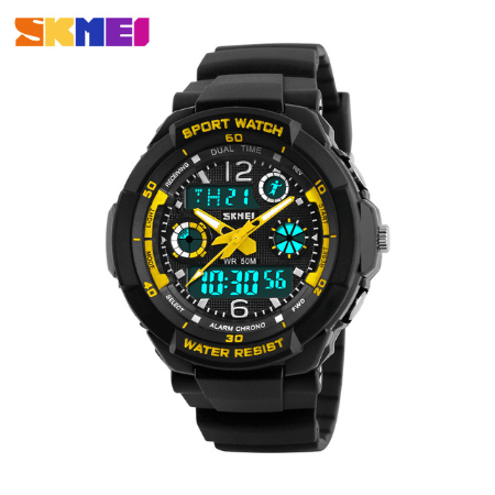 SKMEI 1060 Kids Anti Shock 5Bar Waterproof Watches – Yellow