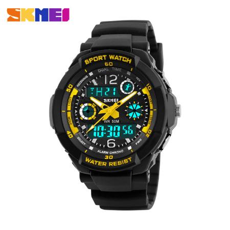 SKMEI 1060 Kids Anti Shock 5Bar Waterproof Watches – Yellow