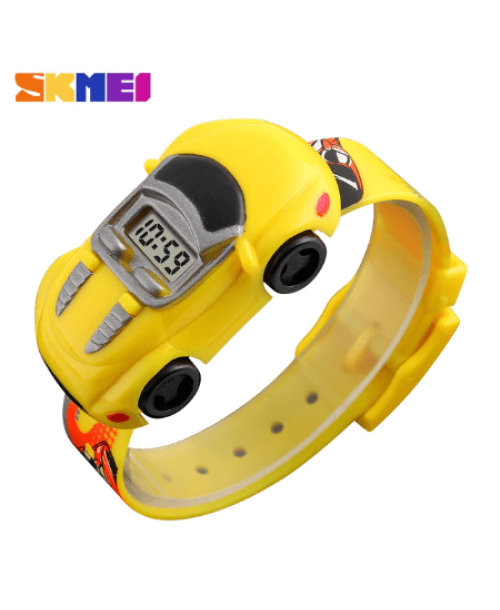 SKMEI 1241 Kids Cartoon Car Watch – Yellow