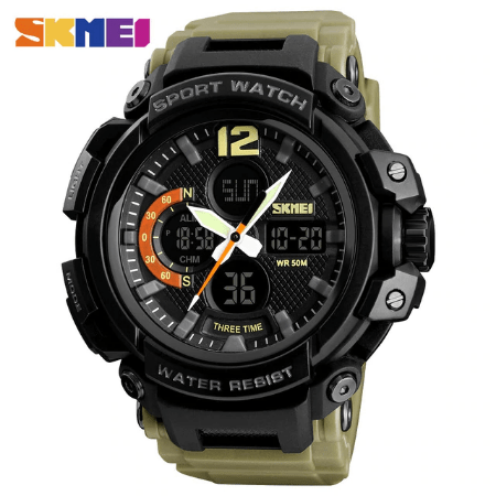 SKMEI 1343 Men Outdoor Watch – Khaki