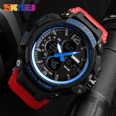 SKMEI 1343 Men Outdoor Sports Watch – Red