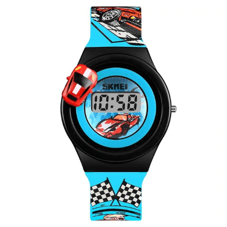 SKMEI 1376 Kids Watches Cartoon Car Digital – Light Blue