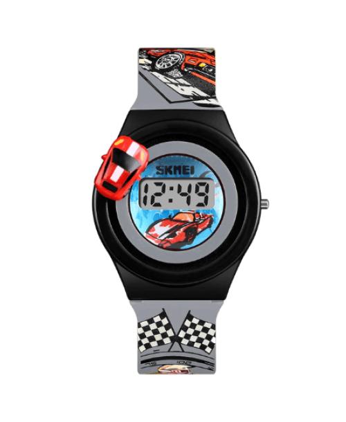 SKMEI 1376 Kids Watches Cartoon Car Digital – Grey