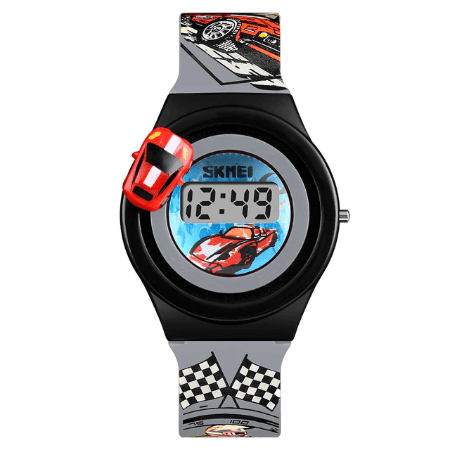 SKMEI 1376 Kids Watches Cartoon Car Digital – Grey