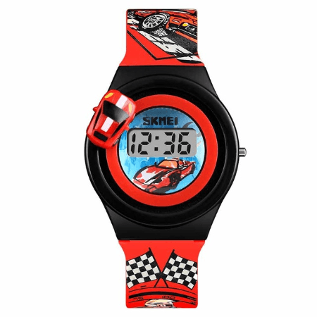 SKMEI 1376 Kids Watches Cartoon Car Digital – Red