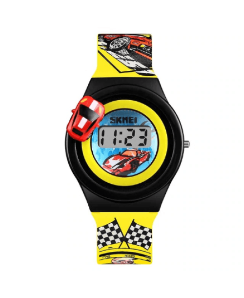 SKMEI 1376 Kids Watches Cartoon Car Digital – Yellow