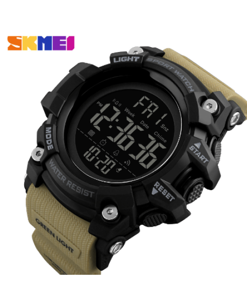 SKMEI 1384 Men Sports Digital Watch  Waterproof – Khaki