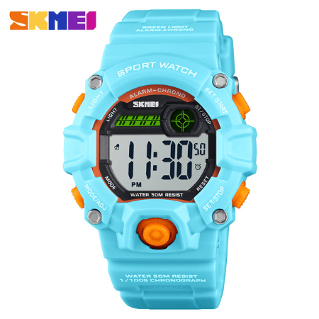 SKMEI 1484 Kids Brand Casual Digital  Waterproof Watches – Light Blue