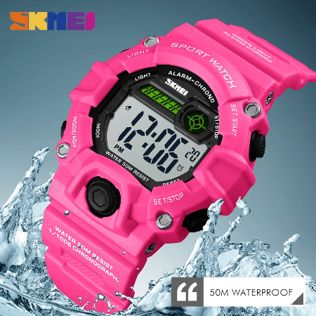 SKMEI 1484 Kids Brand Casual Digital  Waterproof Watches – Pink
