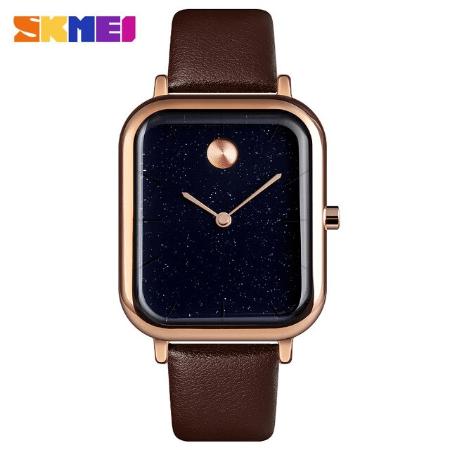 SKMEI  9187 Luxury  Women Quartz Watch Starry Sky Waterproof – Brown