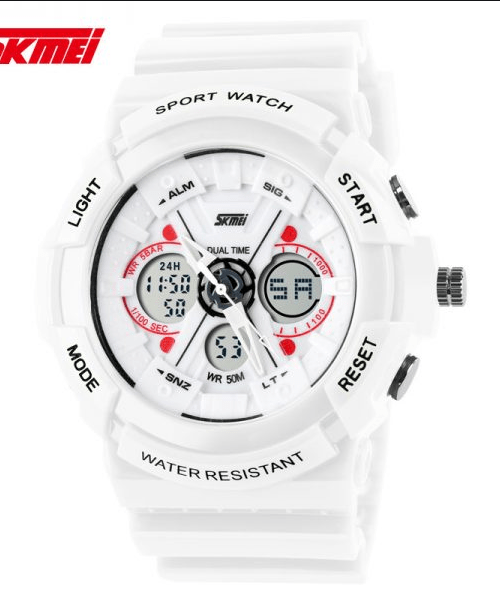 SKMEI 0966 Anti Shock 5Bar Waterproof Watches – White