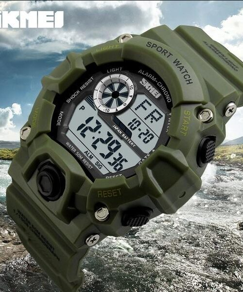 SKMEI 1019 Men Military LED Digital Watch  50M -Green