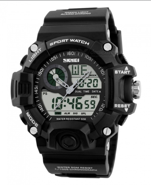 SKMEI 1029 Anti Shock 5Bar Waterproof Watches – Black