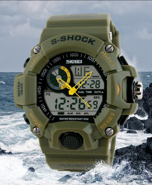 SKMEI 1029 Anti Shock 5Bar Waterproof Watches – Green
