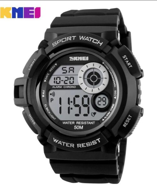 SKMEI 1222 Men  Military LED Digital Watch  50M -Black