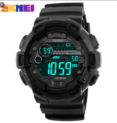 SKMEI 1243 Digital Sports Watch  50M – Black