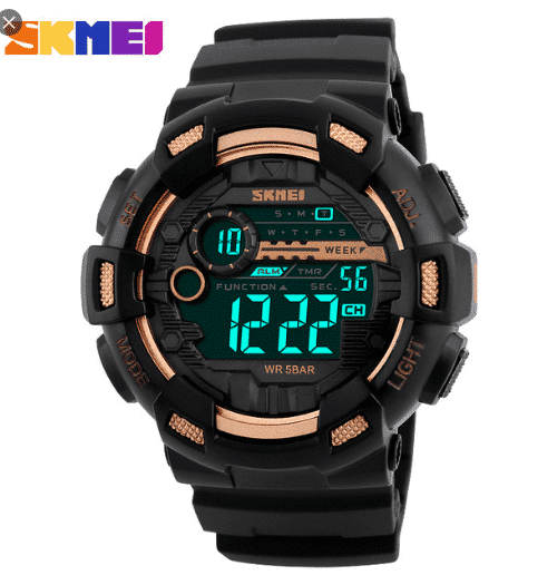 SKMEI 1243 Digital Sports Watch  50M – Gold