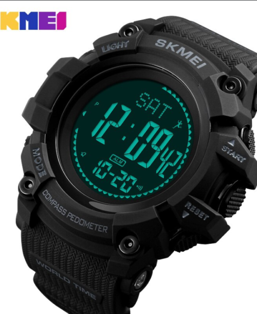 SKMEI 1356 Pedometer Compass Watch – Black